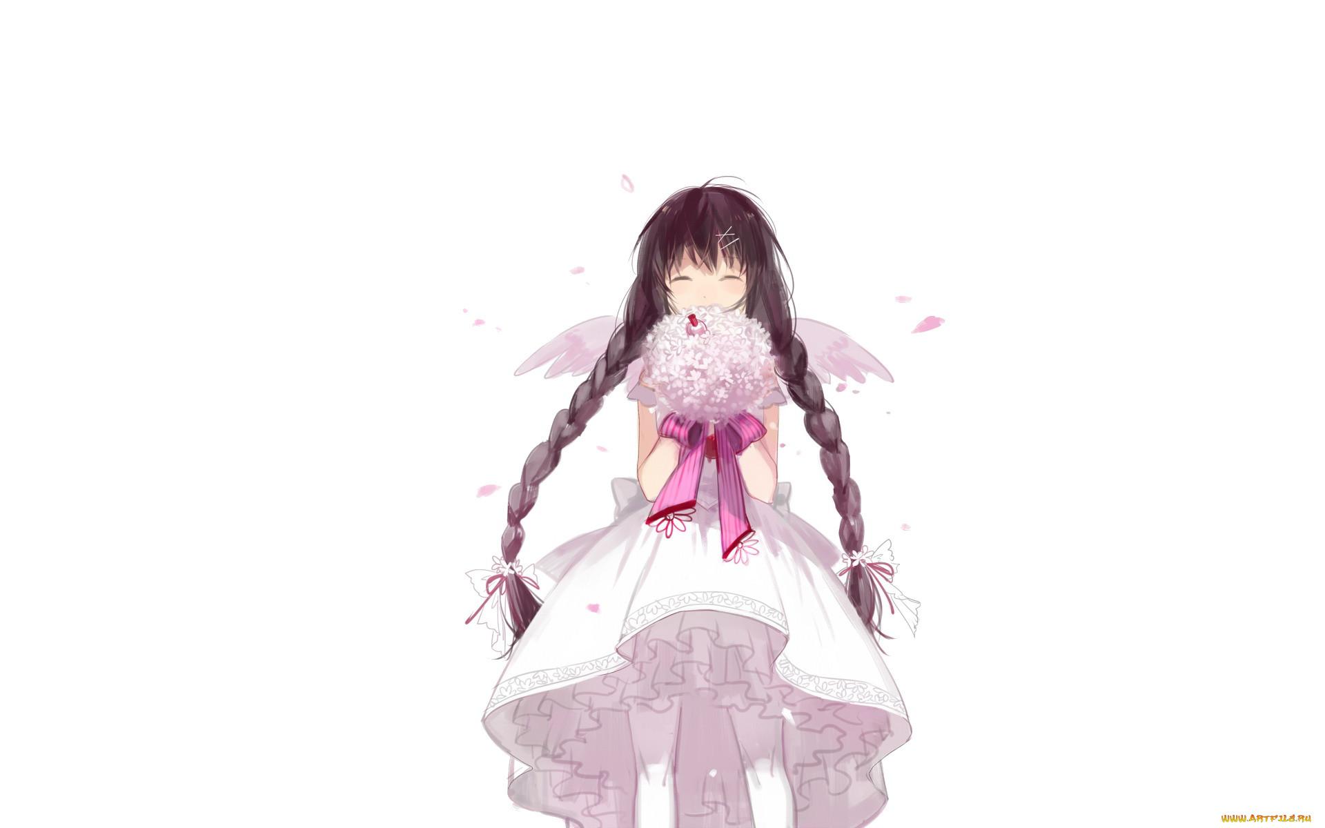 аниме, ангелы,  демоны, платье, косы, девочка, букет, крылья